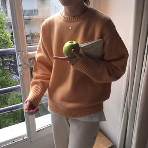 Image 3 - Pullovers Women Solid O Neck Warm Simple Elegant Students Korean Style Leisure Female Loose Kawaii Womens High Quality Pullover