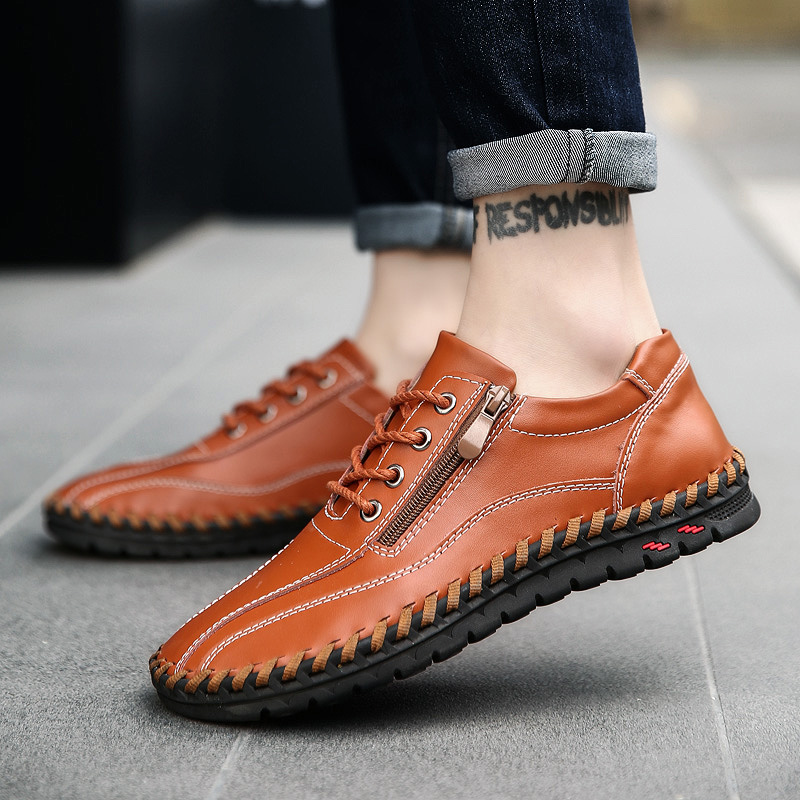 Casual Mens Genuine Leather Shoes Lace Up Male Low Top Fashion Luxury Sneakers Outdoor Man Flat Shoes Zapatos Hombre Big Size men leather casual shoes lace up man flat luxury fashion chaussure homme soft zapatos hombre summer men genuine leather shoes