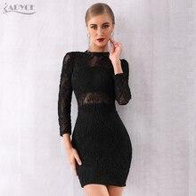 ADYCE 2019 New Winter Women Bandage Dress Sexy Black Long Sleeve Lace Club Vestidos Celebrity Evening Runway Party Dresses