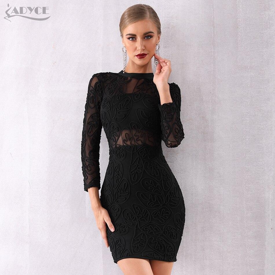ADYCE 2020 New Winter Women Bandage Dress Sexy Black Long Sleeve Lace Club Dress Vestidos Celebrity Evening Runway Party Dresses
