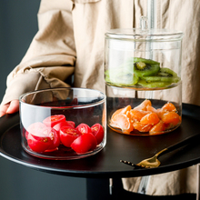 Creative 3 Layer Stackable European Style Creative Heat-Resistant Glass Salad Bowl With Lid Fruit Transparent Container Storage