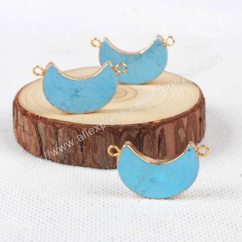 Crescent Moon Shape Blue Howlite Turquoise Gold Plated Necklace Connector Beads Double Bails Making Jewelry G0867
