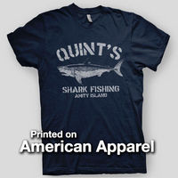 QUINT S SHARK FISHING Jaws Amity Island Brody Orca AMERICAN APPAREL T Shirt Newest 2017 Men