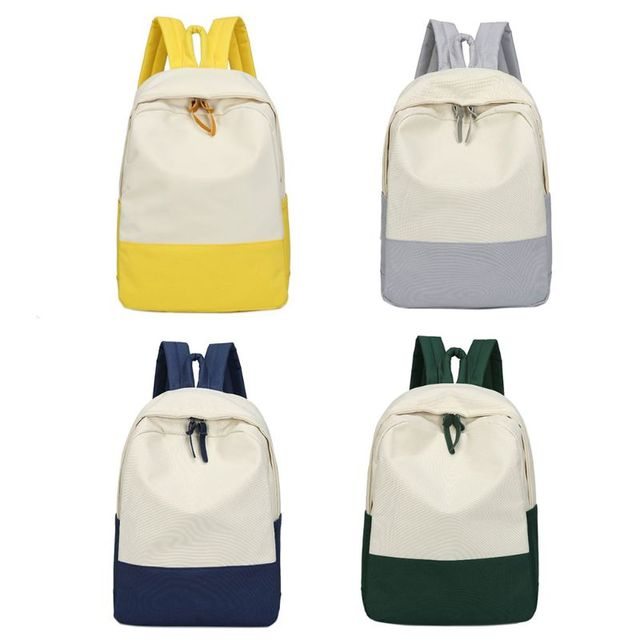 01ca91696e73 US $12.15 27% OFF|Casual Two Colors Patchwork Backpack Unisex School Boys  Canvas Bags Backpacks For Teenage Girls femme sac the 2018-in Backpacks  from ...
