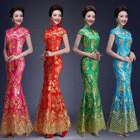 Fashion Multicolor Embroidery Cheongsam Mermaid Evening Gowns Long Qipao Chinese Traditional Wedding Dress Cheongsam