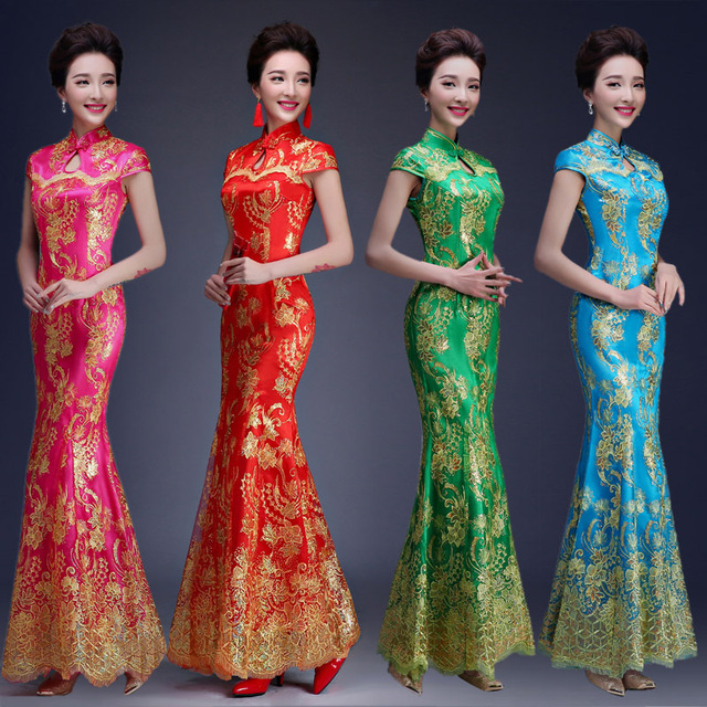 b2990f08b Fashion Multicolor Embroidery Cheongsam Mermaid Evening Gowns Long Qipao  Chinese Traditional Wedding Dress Cheongsam