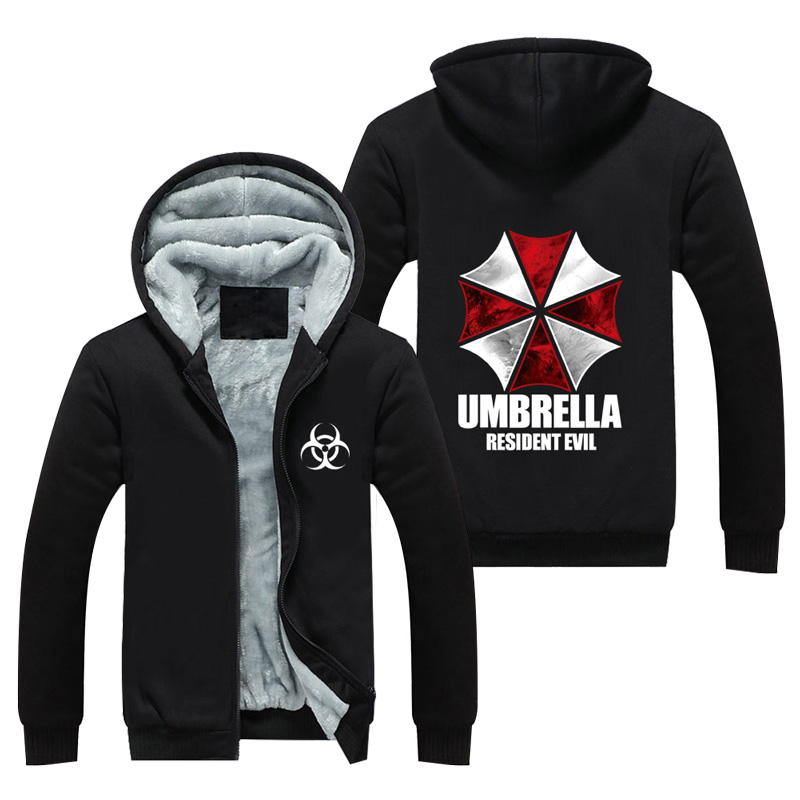 High-Q Unisex Resident Evil Umbrella Thick Hooded Hoodie Cardigan Sweatshirts Resident Evil Print Cotton Jacket Coat Top