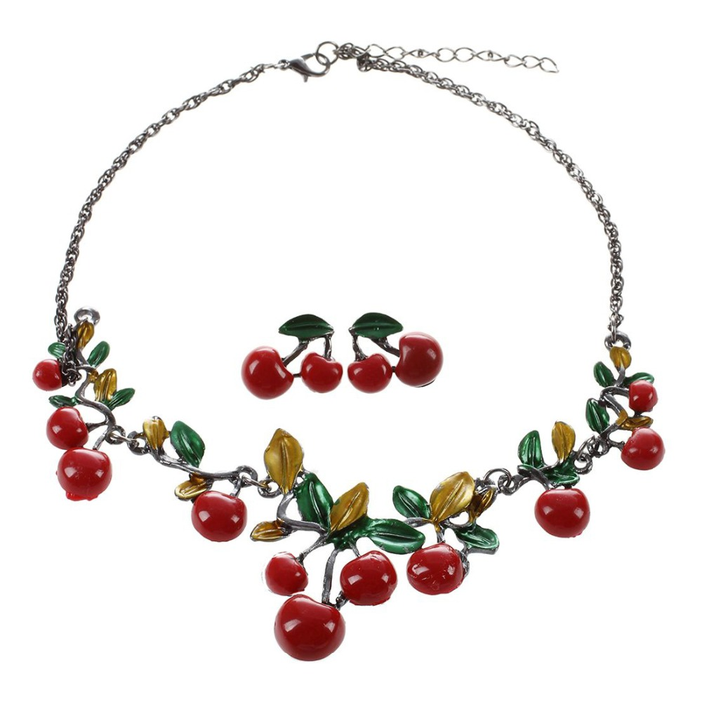 Trendy Women Party Jewelry Set Cherry Leaf Shape Sweet Female Stud Earring Choker Statement Necklace Collar (Color: Red)