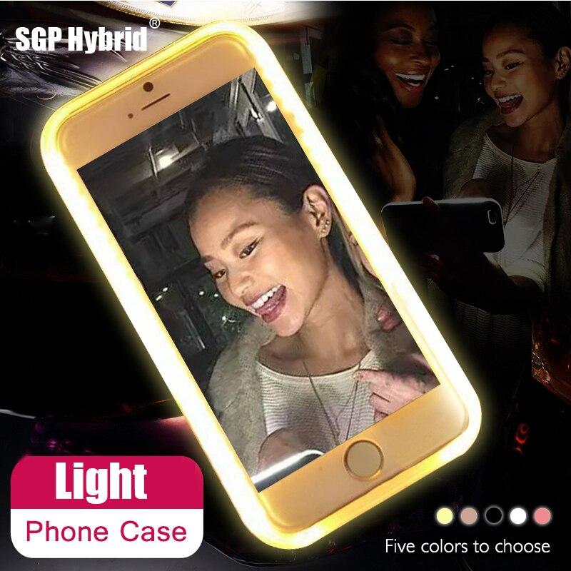 Para iPhone 6 6 S 7 más 5 s flash selfie hasta brillante caja de teléfono de lujo para Apple teléfono 5S 6 S 7 s más iPhone x cubierta