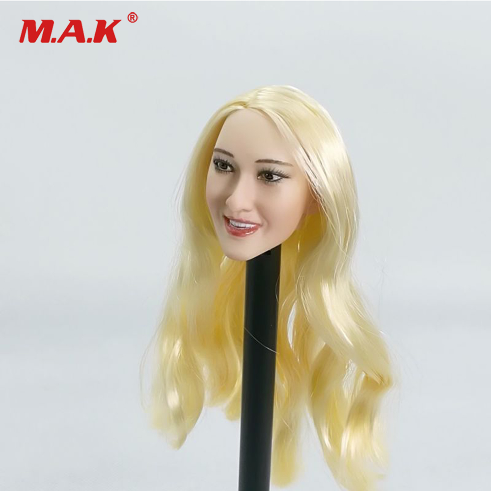 1/6 Scale Female Head Carved US Star Blond Curls Long Hair Ivanka Trump Head Sculpt Model for 12