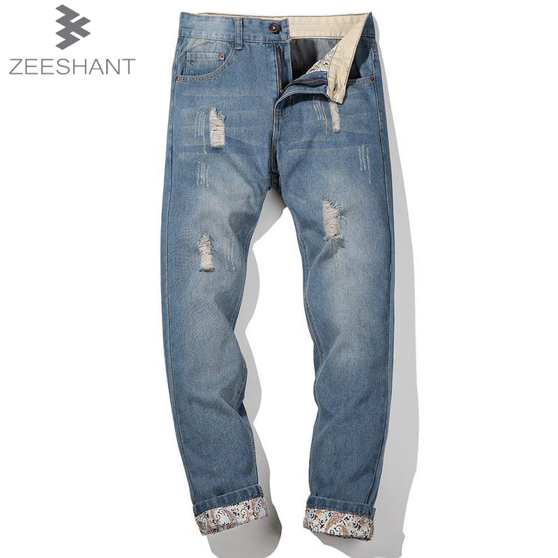 ZEESHANT 44 42 40 Fashion Hole Ripped Men Jeans Size 42 Casual Patchwork Slim Straight Denim Pants Trousers in Men's Jeans large size 29 42 young men jeans hole patchwork denim harem pant male fashion casual denim pant trousers