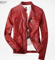 New 2014 PU leather fashion men Slim Short leather jacket stand collar motorcycle tide outerwear ! M-3XL / Free shipping !