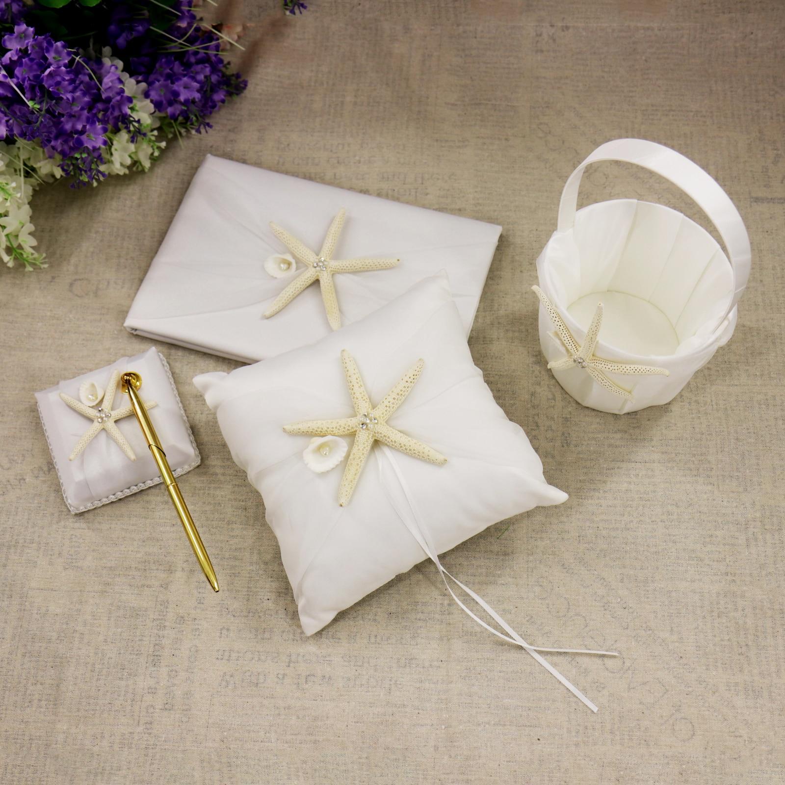 Nuptiale douche étoile de mer fleur panier blanc tache poire anneau oreiller de mariage fête décoration invité livre ensemble accessoires de mariée - 2