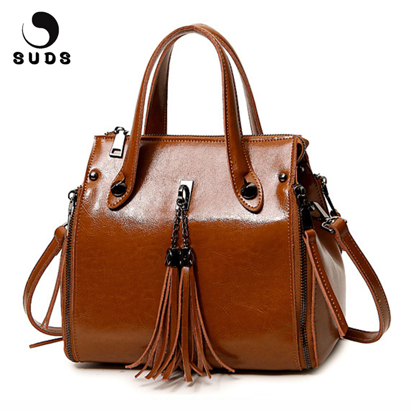 SUDS Brand Women Bag Genuine Leather Tassel Handbags Female New Fashion Solid Crossbody Bags Women Cow Leather Shopping Tote Bag brand solid genuine leather women handbags hobo tote bag female tassel big women shoulder bags single ladies crossobdy bag
