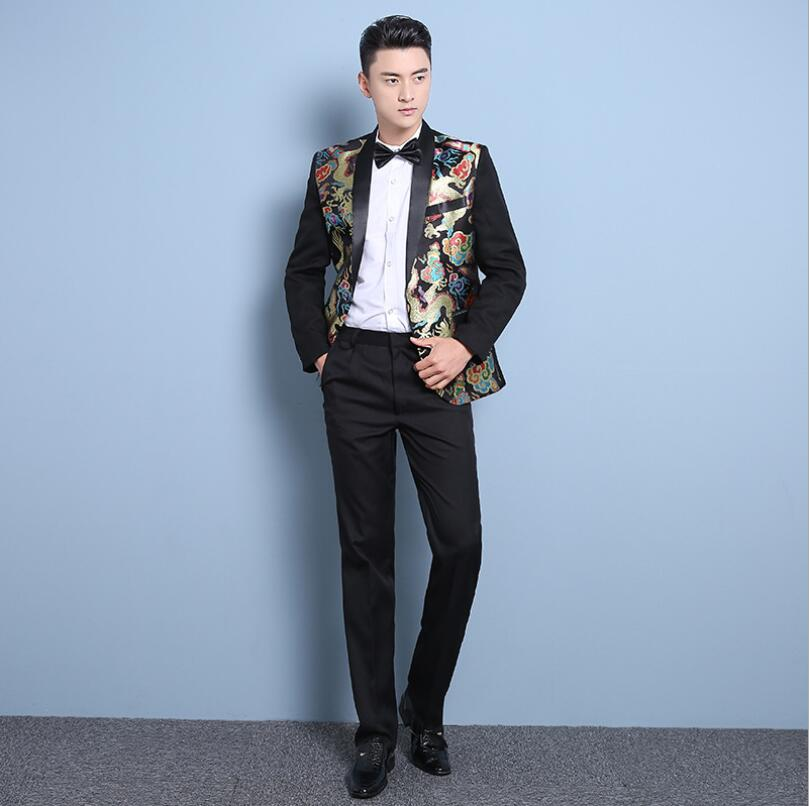 Hot Men's Fashion Korean Slim Chinese Style Blazer Suits