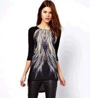 新しい 2015春女性ファッション黒長袖ピーコック テール プリントアシンメトリーヘムバック tシャツ トップス tシャツ #1134