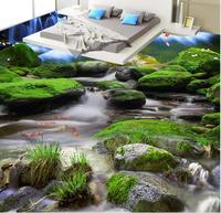 Piso 3d papel de parede cachoeira Rock Creek naked eye 3D piso de Decoração Para Casa PVC desgaste à prova d' água