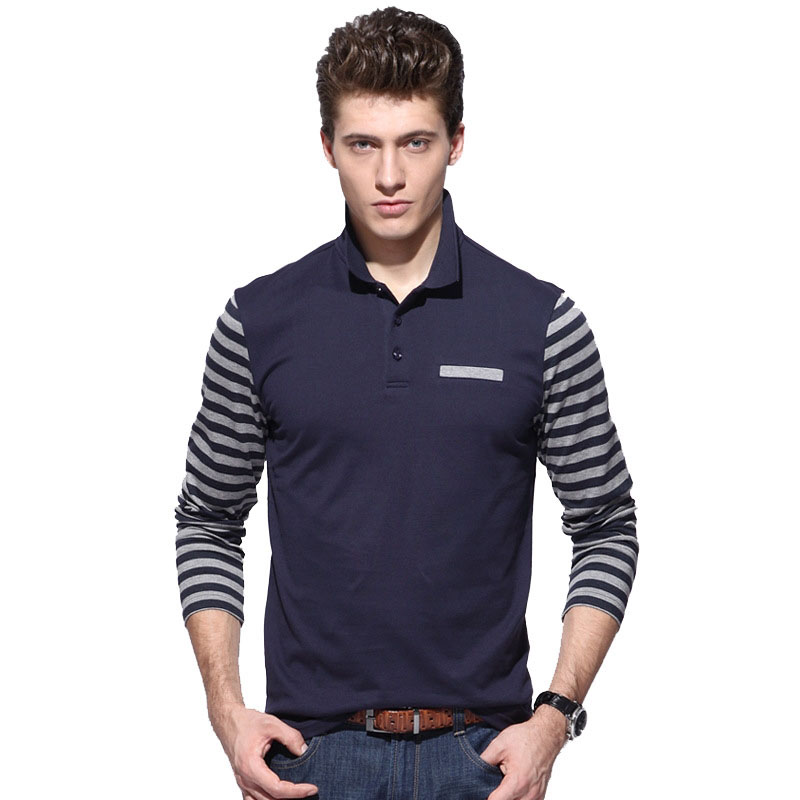 Brand New Mens Casual   Polo   Shirts 100% Cotton Designer Fanshion Stripe Long Sleeve   Polo   Shirt For Men   Polo   Tees Homme AF6109