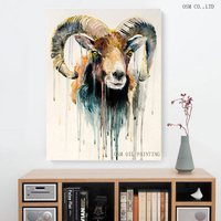 Artist New Design Abstract Animal Goat Oil Painting For Wall Decoration Abstract Goat Oil Painting For Friend Unique Gift