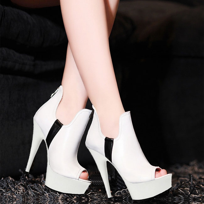 Crazy for the bride wedding shoes white black is available food fish mouth single centimeters high heel shoes happy is the bride