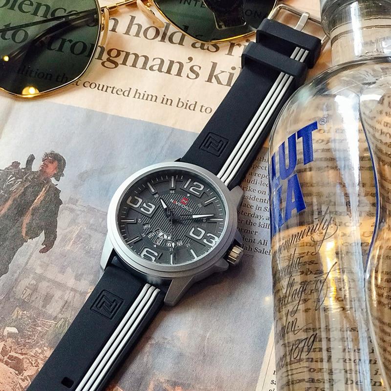 купить NAVIFORCE Top Brand Men's Sports Watches Fashion Analog Quartz Wrist Watch Men Waterpoof Silicone Clock Male Relogio Masculino по цене 1090 рублей