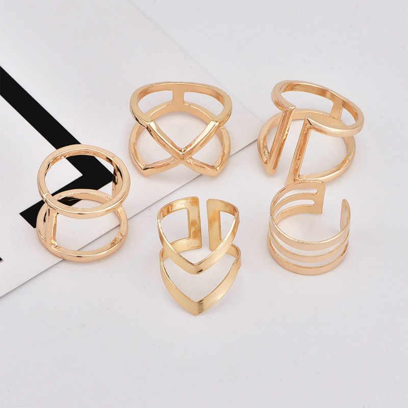 5 قطعة/المجموعة الموضة شعبية جديدة الهندسة الخامس على شكل غير النظامية الجوف الذهب المرأة خاتم