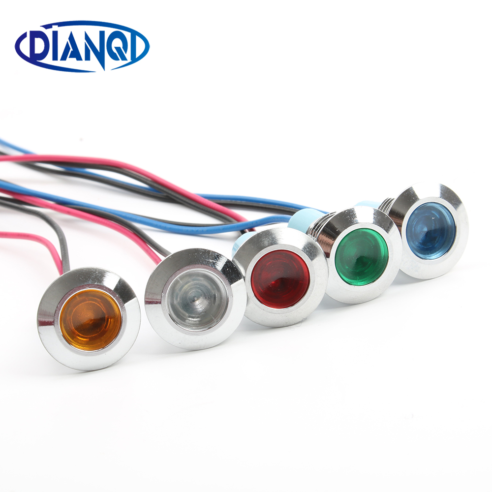 12mm Waterproof Metal Flat Round Indicat Signal Lamp LIGHT 3V 6V 12V 24V 220V With Wire Red Yellow Blue Green 12ZSD.X