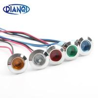 12mm Waterproof Metal Flat Round Indicat Signal lamp LIGHT 3V 6V 12V 24V 220V with wire red yellow blue green 12ZSD.X|signal lamp|signal lamps 220v|signal lamps 24v -