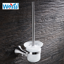 WEYUU Wall Mounted Wire drawing Toilet Brush Holder Galss Cup Bathroom Furniture Toilet 304 Stainless Steel