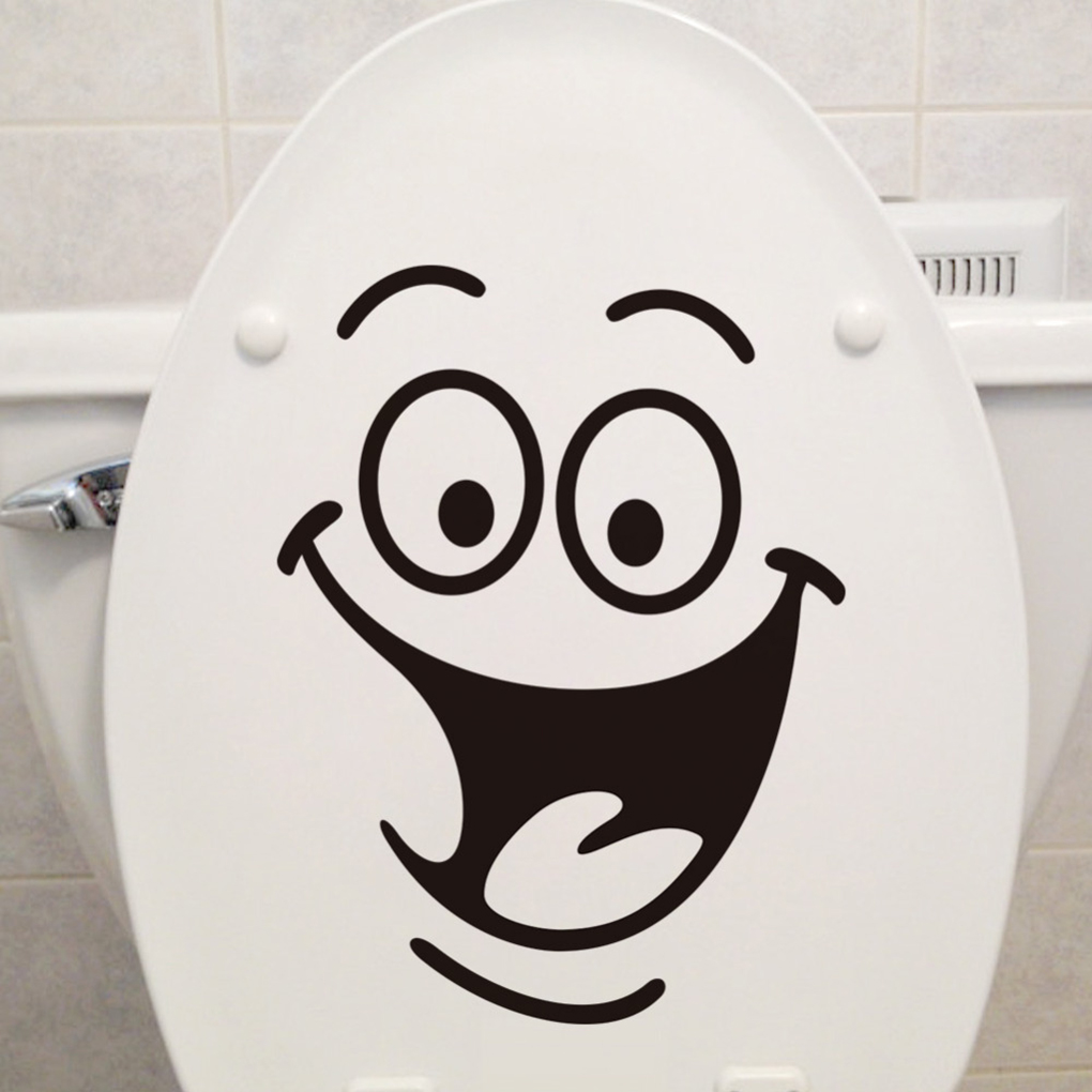 DIY Home Decor Removable Smile Face Funny Bathroom Toilet Seat Art Wall Sticker(China)