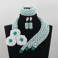 Handmade Jewelry Luxurious White/Green Crystal Party African Beads Jewelry Set Indian Bridemaid Jewelry Set Free ShippingABL962
