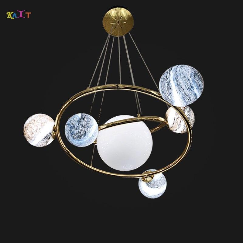 Nordique créatif univers planète acrylique suspension lumière lune soleil terre Mars Uranus suspension lampes