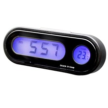 NEW 2-in-1 Auto Car Electronic Clock Luminous Thermometer LED Digital Display Mini Portable Dashboard Accessories
