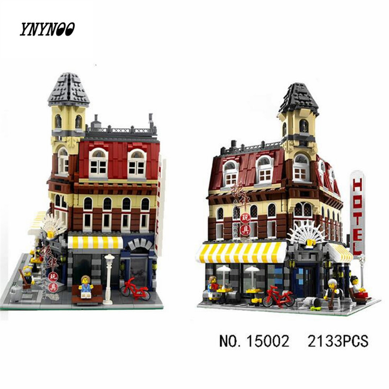 YNYNOO LEPIN 15002 City Street Cafe Corner Model Building Kits Assembling Blocks Kid Toy compatible 10182 Educational Toy new lepin 16008 cinderella princess castle city model building block kid educational toys for children gift compatible 71040