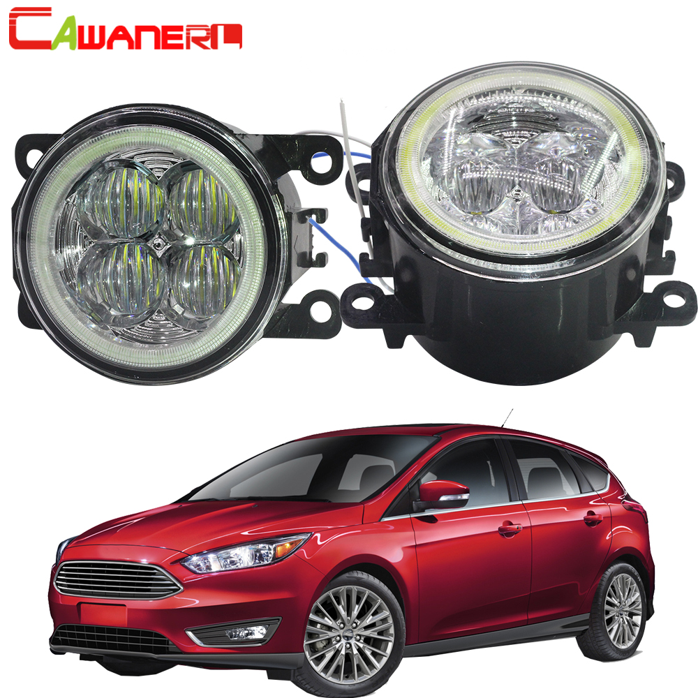 Cawanerl Pour 2004-2015 Ford Focus MK2 MK3 Car Styling LED Ampoule Avant Brouillard Lumière D'ange Yeux Drl running Light 12 v 2 pièces