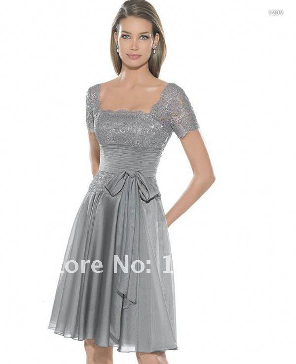 Mother Bride Dresses Sale: Lace Cap Seeves Hot Sale Silver Grey Short Mother Of The