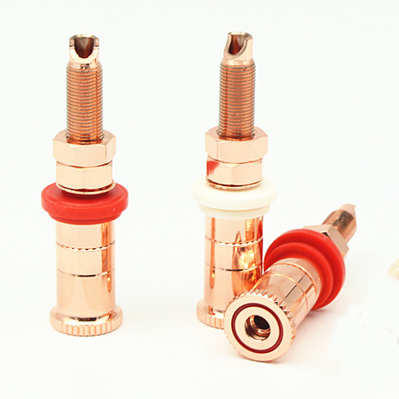 4pcs/set Gold Copper Plated Speaker Binding Posts Terminal Connectors WBT Style