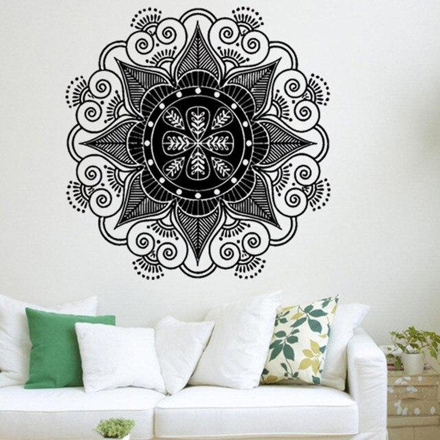 US $4.09 13% OFF|Mandala Blumen Indischen Schlafzimmer Wandtattoo Wandhaupt  Vinyl Familie wandkunst aufkleber diy adesivo de parede home decor in ...