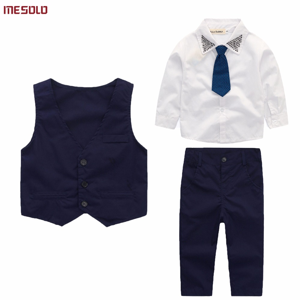 3pieces set autumn 2017 childrens leisure clothing sets kids baby boy suit vest gentleman clothes for weddings formal clothing