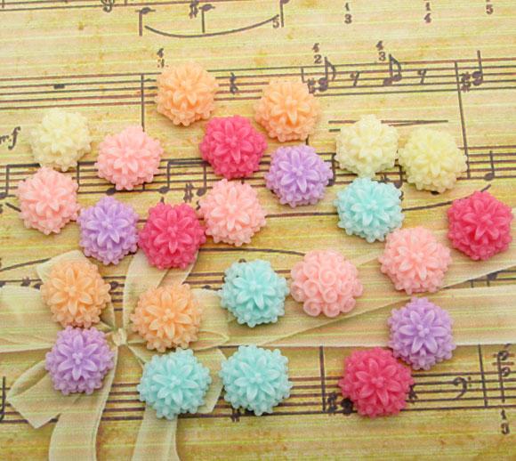 50Pcs Mixed Resin Flower Decoration Crafts Kawaii Bead Flatback Cabochon Fridge Magnet Scrapbook DIY Accessories Buttons