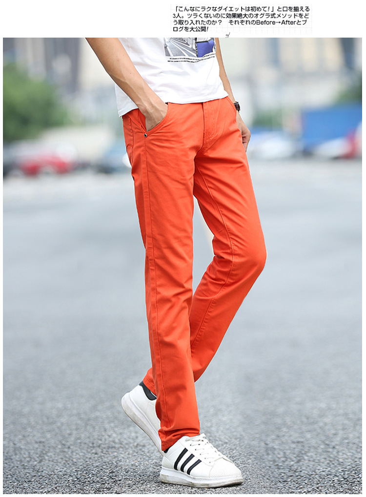 Business Casual Pants 11 Colors New Casual Pencil Pants Men Slim Pant Straight Trousers Solid Leisure Zipper Spring Summer k919 36