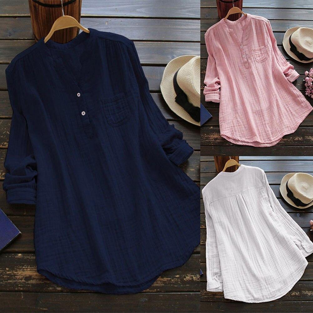 Las señoras de las mujeres blusas de cuello de manga larga Casual túnica suelta Tops verano blusa Top Haut Femme # LSJ