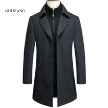 2017 new arrival winter style Men's boutique woolen coat business casual etachable bladder solid men long woolen overcoat M-3XL