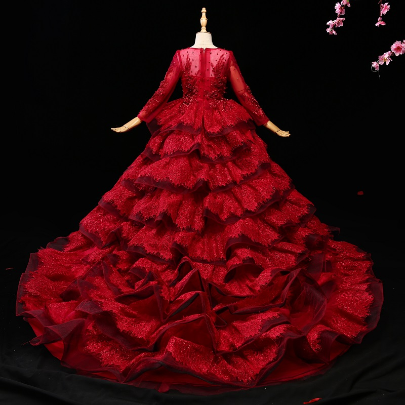 Luxury Princess Girls Red Dress Lace Long Tails Beading Kids Girl Dresses For Wedding Party Costume Ball Gown Long Sleeve D45 baby girls red long sleeve full dress ball gown golden flower party wedding special princess kids dresses for girls clothes