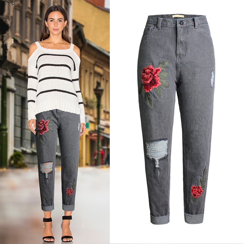 Boyfriend Jeans Embroidery Fashion Ripped Loose Denim High Waist Jeans Stretchable Gray Vintage Summer Pencil Pants Mom Jeans