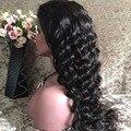 200% Плотность Бразильский Рыхлый Глубокий Вьющиеся Glueless Полное Кружева Парики Человеческих Волос 8А Бразильский Фронта Шнурка Человеческих Волос Парики