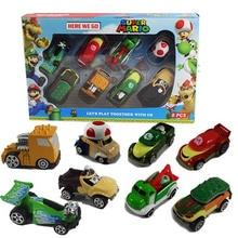 8pcs/set Super Mario Kart Metal Car Figure Toys Gift For Children Free Shipping