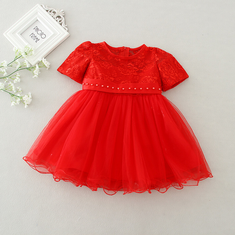 a5e98a64d baby girl dress New Girls Fashion Christmas Lace Pearl Belt Bow Party  Wedding Dresses 1 year birthday dress