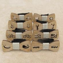 Классический бамбуковый Деревянный Детский галстук-бабочка Лазерная резка Деревянный Детский галстук-бабочка