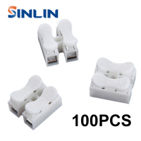 100pcs CH 2 Spring Wire Quick Connector Splice With No Welding No Screws Cable Clamp Terminal